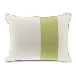 Oilo - Standard Sham, Spring Green - This pillow sham would look great mixed and matched with a collection of patterns and solids. The contrasting band of color ties in classically with the pillow's coordinated piping. It's a timeless design that would look great on a couch or a bed.