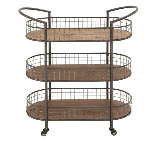 Multipurpose and Stylish Metal Wood 3 Tier Cart - Description: