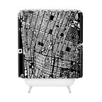 DENY Designs - CityFabric Inc NYC Black Shower Curtain - Start spreading the news. You'll want to wake up with this fun shower curtain. In bold black and white, the city streets create a graphic grid sure to show the world why you love New York. Each piece is custom printed on woven polyester and is machine washable.