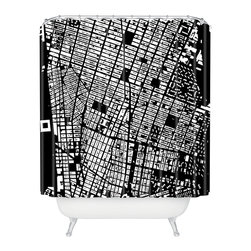 DENY Designs - CityFabric NYC Black Shower Curtain - Start spreading the news. You'll want to wake up with this fun shower curtain. In bold black and white, the city streets create a graphic grid sure to show the world why you love New York. Each piece is custom printed on woven polyester and is machine washable.