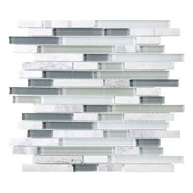 """Rocky Point Tile - Bliss Iceland Random Strip Mosaic Tiles, Mixed, 4"""" X 6"""" Sample - Grays and whites blend together to create an icy cool mosaic that adds a clean, fresh look to your kitchen or bath. The varying marble mosaic blocks beautifully complement marble or granite countertops, but would also look great next to bright red. Versatile and stylish — perfect!"""