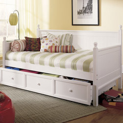 Fashion Bed Group - Casey Daybed With Trundle in White Finish - Like a blank canvas ready for the artist's touch, the Casey daybed is the perfect base from which to build a room. Easily adaptable to a number of styles, this daybed can go from country casual to sleepover central in the blink of an eyelet coverlet. The sturdy solid wood construction, head board back and arms, ball finials and Antique White finish make this impressive piece of wooden craftsmanship that's as practical as it is impressive. The roll out drawer can accommodate a twin size mattress for a sleepover guest or be used as extra storage