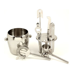 Stainless Steel 7 Piece Ice Bucket Set - Talk about the perfect house warming gift! This Stainless Steel 7 Piece Ice Bucket Set is a great way to congradulate a friend or family member on their new home.