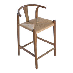 Gingko - Xian Barstool, Natural - Rushing to the bar takes on new meaning with this stool. Reminiscent of Asian and classic midcentury designs, this stylish bar-height stool is handmade from solid walnut with a rush seat and comes in a choice of dark, natural or black finishes. When's the last time you saw a perch with this much panache?