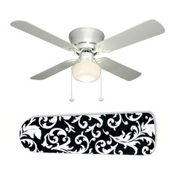"Classic Design Black and White 42"" Ceiling Fan and Lamp - 42-inch 4-blade ceiling fan with a dome lamp kit that comes with custom blades. It has a white flushmount fan base. It has an energy efficient 3-speed reversible airflow motor for year long comfort. It comes with complete installation/assembly instructions. The blades can be cleaned with a damp cloth. It is made with eco-friendly/non-toxic products. This is brand new and shipped in the original box. This is not a licensed product, but is made with fully licensed products. Note: Fan comes with custom blades only."