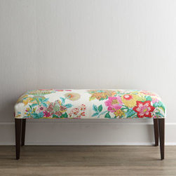 Haute House 'Lily' Bench - The vibrant floral upholstery on this bench paired with the sleek legs gets my heart beating in a good way. I love how the white wall and rustic flooring in the photo allow the bench to take center stage.
