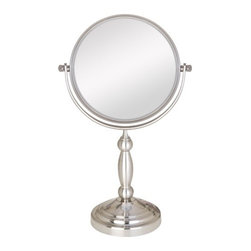 "Zadro - Two Sided Non Lighted Vanity Mirror in Satin Nickel - The 5X/1X, 8X/1X, and the 10X/1X Vanity Mirrors feature a dual-sided, premium quality mirror with two magnifications. On one side, a 5x, 8x, or 10x magnification mirror allows you to see up-close and in detail, allowing for easy make-up application. The other side features a normal, 1x magnification mirror that is great for checking hair and make-up. Features: -Two sided vanity mirror. -Satin nickel finish. -Available in 5x - 1x, 8x - 1x or 10x - 1x magnification. -360 Swivel. -Non- Slip Base. -Manufacturer provides 90 days warranty. Specifications: -5x - 1x Magnification Overall dimensions: 11.5"" H x 7"" W x 4.75"" D. -Mirror Surface: 5.25"" Diameter. -8x - 1x Magnification Overall dimensions: 13.5"" H x 9.5"" W x 6"" D. -Mirror Surface: 7.5"" Diameter. -10x - 1x Magnification Overall dimensions: 16.25"" H x 10"" W x 6"" D. -Mirror Surface: 7.5"" Diameter."