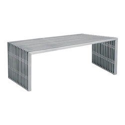 Nuevo Living - Amici Bench Brushed Stainless Steel by Nuevo - HGDJ122 - A structure of modern simplicity, the Amici Bench in stainless finish will make a stunning addition to any indoor or outdoor setting. This bench is created by Nuevo featuring a beautiful contemporary style, which is illustrated by its stylish, solid stainless steel construction. This modern, industrial style bench is sure to amaze your guests. Perfect for any area that needs extra seating, this piece would be even further accentuated by the matching Amici Stool.