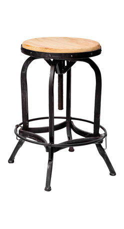 Great Deal Furniture - Dempsey Industrial Metal Design Swivel Bar Stool - Take it for a spin: This classic industrial swivel bar stool can go just about everywhere you need compact, steady seating. Raise it up to serve your bar, lower it for your counter. Of course, you can also park it near your craft or worktable as well.