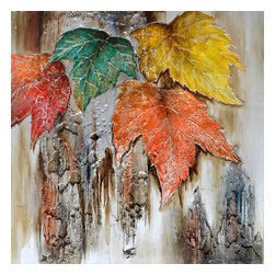 YOSEMITE HOME DECOR - Autumn Leaves - Earth tones are given a new twist in this acrylic on canvas painting of fall leaves. This painting features four leaves one in orange, one in emerald green, and the fourth is a blend of red and orange shades. The mix of colorful leaves with a bronze like background make this a standout piece perfect for decorating the walls of your home.