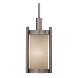 Dolan Designs Lighting - Caramelized Glass Mini-Pendant - 2621-66 - This mini-pendant features caramelized glass and a vista finish. It measures 21-3/4 inches tall by 6-1/4 inches wide and includes one 6-inch and three 12-inch stem segments. A sloped ceiling adapter is included. Takes (1) 100-watt incandescent A19 bulb(s). Bulb(s) sold separately. UL listed. Dry location rated.