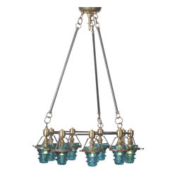EuroLux Home - Round Chandelier with 9 Consigned Vintage Insulators - Product Details