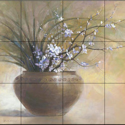 The Tile Mural Store (USA) - Tile Mural - Sanctuary I - Kitchen Backsplash Ideas - This beautiful artwork by Yumiko Ichikawa has been digitally reproduced for tiles and depicts a brown glazed clay pot filled with delicate pink and purple flowers and dried stems.  With our enormous selection of tile murals of plants and flowers you can bring your kitchen backsplash tile project to life. A decorative tile mural with plants and flowers is an impressive kitchen backsplash idea and decorative flower tiles also work great in the bathroom. Add splashes of color and life to your tile project with images of flowers on tiles and tiles with pictures of plants.