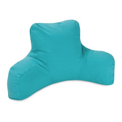 Majestic Home Goods - Teal Reading Pillow - Now you can kick back and relax anywhere, inside or out, with this comfortable and supportive Reading Pillow. The Majestic Home Goods Indoor/Outdoor Teal Reading Pillow provides back and head support that is perfect for many activities such as reading, working on your laptop or lounging with friends. Stuffed with a super loft recycled polyester fiber fill, the reading pillows zippered slipcover is woven from Outdoor Treated polyester and has up to 1000 hours of U.V. protection.  Spot clean slipcover with mild detergent and hang dry. Do not wash insert.