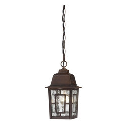 "Nuvo - One Light - Outdoor Hanging Pendant - Rustic Bronze Finish with Clear Water Glas - Shade: Clear Water Glass.  UL certified: Wet Location.  Bulb Information: 1 x 100w-Medium A19 Incandescent (Bulb is not included).  Chain: 48"". . Color/Finish: Rustic Bronze. 6 in. W x 11 in. H (2 lbs)The Banyon collection has a pleasing architectural aesthetic and features geometric inlays atop its clear water glass.  This collection is offered in three finishes; white, rustic bronze, and textured black.  The Banyon collection with its strong design and handsome finishes will be a welcome addition to any home."