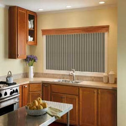 Bali - Bali Vinyl Vertical Blinds: S-Curved Buckskin - Bali verticals are a cost-effective way to add drama, dimension and sleek, contemporary styling to patio doors and wider windows.  The Buckskin vinyl vertical blind collection features a leather look and has smooth texturing.