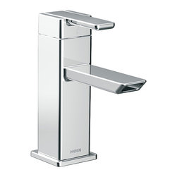 Moen - Moen S6700 90-degree One-Handle Low Arc Chrome Bathroom Faucet - Add a clean,modern touch to your home decor with this sleek Moen Degree High Arc Vessel Bathroom Faucet. This faucet meets WaterSense criteria to conserve water without sacrificing performance,and has a beautiful chrome finish.
