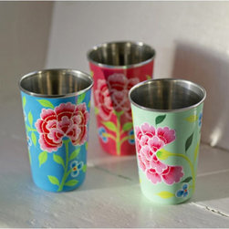 Hand-Painted Enamel Vibrant Floral Tumblers - These hand-painted enamel floral tumblers are simply fun, fun, fun. They could shake up even the dullest of table settings. Of course, I also love that they are fair trade.