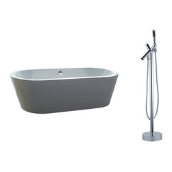 "AKDY - AKDY 71"" AK-ZF224+8711 Euro Style White Acrylic Free Standing Bathtub w/ Faucet, - AKDY free standing acrylic bathtubs come in many styles, shapes, and designs. The acrylic material used for tubs is very durable, light weight, and can be molded into a variety of shapes and styles which explain the large selection available in this product category. Acrylic free standing tubs are a cost efficient way to give your bathroom a unique beautiful touch. A bathtub is no longer just a piece of cast iron metal thrown into a bathroom by a builder."