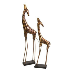 """IMAX - Nimba Oversized Metal Giraffes - Set of 2 - The Nimba oversized metal giraffes bring an essence of the African safari to your home. Item Dimensions: (45.25-56.25""""h x 5-5.5""""w x 14-15"""")"""