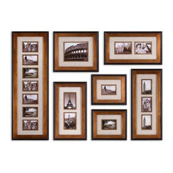 Uttermost - Uttermost Newark 44x15 Photo Collage (Set of 7) - This collection of frames features a heavily antiqued gold finish with a matte black outer edge. Ivory linen mats surround photos. May be hung horizontal or vertical. Holds photo sizes: 12-4x6, 1-8x10, 4-5x7. Frame sizes: 15x44, 17x19, 13x29, 2-14x24 & 2-1.