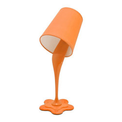 Lumisource - Table Lamp in Orange - Uses 120V~60Hz, 40 watts E26 bulb only (not included). Made from plastic and fabric. Assembly required. 7.5 in. L x 5.5 in. W x 15.5 in. H (1.5 lbs.). Assembly InstructionsWoopsy! No worries, this unique paint bucket lamp gives the illusion of paint spilling. Looks great in kids rooms.