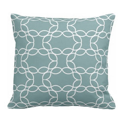 PURE Inspired Design - Petal Ring Organic Cotton Fabric 18 x 15 Pillow in Light Teal/Natural - Petal Ring organic cotton canvas pillow in Light Teal and Natural with a hidden bottom zipper, modern knife-edge, and down insert (other options available by request).All our pillows are fabricated on demand in the USA, and all our pattern organic fabric is grown, woven, and printed in the USA.