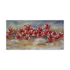 Ren-Wil - Ren-Wil OL857 Rising Dawn Horizontal Canvas Wall Art by Liza Stones - This dramatic hand embellished piece features vibrant red flowers set on a earthy abstract background.