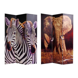 Oriental Furniture - 6 ft. Tall Double Sided Elephant and Zebra Canvas Room Divider - A sepia toned image of an African elephant preparing for full charge on one side, and a loving pair of savannah zebras caressing on the other. Powerful, beautiful photos, printed onto portable, durable, 3 panel canvas room dividers. Works well with natural, beach, warm weather, tropical or jungle interior design and decor. Unique and decorative art, as well as practical, effective, folding floor screen.