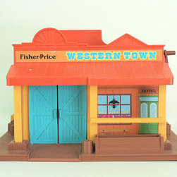Child's Vintage Fisher-Price Toy, Western Town by Long Since - Vintage items like this Fisher Price Western Town toy add that feeling of nostalgia that every little space needs.