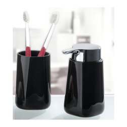 Unique Bath Accessories Set : Bathroom Tumbler and Liquid Soap Dispenser - 2 Pie - Unique and stylish 2 piece set of bath accessories made from durable acrylic.  This modern break resistant set includes a tumbler and 7oz soap or lotion dispenser which has an easy touch chrome pump.  Made in Germany. Tumbler (W) 2.6in x (H) 4.25in ; Dispenser (W) 2.6in x (H) 4.25in