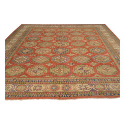 Tribal and Geometric Red Kazak Oriental Rug 11x14 Hand Knotted 100% Wool Sh17624 - Our Tribal & Geometric hand knotted rug collection, consists of classic rugs woven with geometric patterns based on traditional tribal motifs. You will find Kazak rugs and flat-woven Kilims with centuries-old classic Turkish, Persian, Caucasian and Armenian patterns. The collection also includes the antique, finely-woven Serapi Heriz, the Mamluk Afghan, and the traditional village Persian rug.