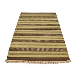 Striped Durie Kilim Area Rug, 3'X5' Hand Woven 100% Wool Flat Weave Rug SH13418 - Soumaks & Kilims are prominent Flat Woven Rugs.  Flat Woven Rugs are made by weaving wool onto a foundation of cotton warps on the loom.  The unique trait about these thin rugs is that they're reversible.  Pillows and Blankets can be made from Soumas & Kilims.