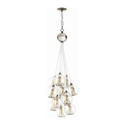 Arteriors Home - Arteriors Home Caviar Adj Sm Polished Nickel/Clear Glass Cluster - Arteriors Hom - Drop this enchanting light from your ceiling and you'll think you've been blowing bubbles. Delicate glass spheres combine with threadlike polished nickel cords to give you an ethereal, romantic ambiance. This glass bouquet would look stunning in your foyer, dining room or living room. If you're very daring, hang one in your bath for an elegant, unusual design. You'll be forever blowing bubbles.