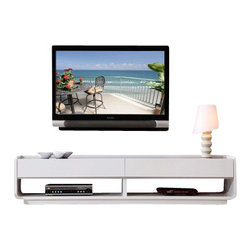 B-Modern - B-Modern Designer TV Stand, White - The Designer takes modern design to a whole new level; creative, fashionable, and fun. This model is designed by the B-Modern Design team in Los Angeles, CA. It features straight edge accents with smooth curves, emphasizing the uniqueness of its design. With its white/grey high gloss finish accented with a tempered black glass top and soft-closing white/grey high-gloss drawers, the Designer is set to be the spotlight of any entertainment center.