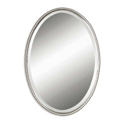 Uttermost - Sherise Brushed Nickel Oval Mirror - This Oval Mirror Features A Frame Made Of Hand Forged Metal With A Brushed Nickel Finish. Mirror Is Beveled. This Mirror May Be Hung Vertical Or Horizontal.