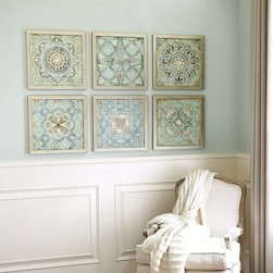 Ballard Designs - Set of Any 2 Vintage Cloisonne Framed Prints - Hang all six for an instant collection. These colorful prints by Chariklia Zarris capture the faded elegance of antique enamel cloisonne. The jewel-tone palettes work lots of our favorite fabrics and paint colors. Doupaged over wood and hand finished in clear acrylic applied with a palette knife for texture.Vintage Cloisonne Framed art features: .