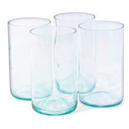 Bottles & Wood - Wine Bottle Tumbler Glasses, Set of 4, Aqua - These beautiful wine bottle tumbler glasses are a great gift for the wine drinker on your gift list. The resilient bottles are carefully crafted by local artisans to create these rugged glasses that will stand up to all the toasts you can come up with. Cheers!