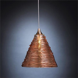 """Shakuff - Pyramid Blown Glass Pendant Light - These hand blown glass pyramids are textured with ridges for a look  reminiscent of desert artifacts.       Dimensions: 4.5""""  Dia x 5"""" H ($514 per pendant)   """" Price includes 5"""" round canopy and 5 cable. ;  ;      Glass colors available on Pyramids:  Clear, Frosted, Amber Translucent, Champagne Translucent,  Pink Translucent, Grey Translucent, Purple Translucent, & Blue Translucent.          Hardware Finishes: Antique Bronze, Dark Bronze, Matte Silver, Matte Black, and Matte White. Additional finishes are available for an up charge.      These pendants  use a G4 10-20 watt bulb  (additional charge for  LED); electric transformer included. Five feet of  wiring comes  standard with each pendant, and custom lengths are  available for $10  per additional foot.         Pyramids can also be clustered or staggered using multiple pendants  hanging from an individual canopy. See suggested items for this style."""