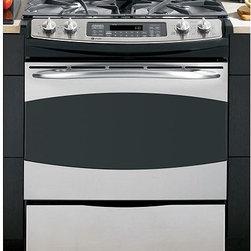 GE Profile Slide-In Gas Range - This GE Profile™ 30 in. slide-in gas range is changing the way the modern family cooks. On the cooktop, the range offers one all-purpose burner, one high-output burner, one Precise Simmer burner and one PowerBoil™ burner to meet a variety of cooking needs. A full-width storage drawer at the bottom of the range provides extra space for quick, easy storage. And a big ClearView™ window in the oven door is both attractive and functional. By incorporating a large capacity and glass touch controls, GE continues to offer simple solutions to accentuate today's lifestyles.