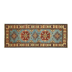 Manhattan Rugs - New SuperKazak Sky Blue Veg Dyed Hand Knotted Wool 2'x6' Oriental Area Rug H5293 - Kazak (Kazakh, Kasak, Gazakh, Qazax). The most used spelling today is Qazax but rug people use Kazak so I generally do as well.The areas known as Kazakstan, Chechenya and Shirvan respectively are situated north of  Iran and Afghanistan and to the east of the Caspian sea and are all new Soviet republics.   These rugs are woven by settled Armenians as well as nomadic Kurds, Georgians, Azerbaijanis and Lurs.  Many of the people of Turkoman origin fled to Pakistan when the Russians invaded Afghanistan and most of the rugs are woven close to Peshawar on the Afghan-Pakistan border.There are many design influences and consequently a large variety of motifs of various medallions, diamonds, latch-hooked zig-zags and other geometric shapes.  However, it is the wonderful colours used with rich reds, blues, yellows and greens which make them stand out from other rugs.  The ability of the Caucasian weaver to use dramatic colours and patterns is unequalled in the rug weaving world.  Very hard-wearing rugs as well as being very collectable