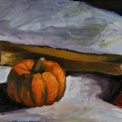 """Pumpkin And Hatchet"" (Original) By Will Eskridge - Another One Of My Still Lifes Depicting A A Tense And Dramatic Scene. The Suspense Of What Will Happen To The Pumpkin Just Lingers."