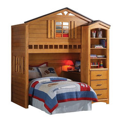 "Adarn Inc. - Rustic Oak Tree House Twin Bunk, Loft Bed, W/Desk, Shelf Cabinet Included - This listing is for the rustic oak twin loft bed. Decorating your children's room with this beautiful brand new twin size loft bed from the ""Tree House"" collection will be a good choice. This loft is constructed from hardwood solids with veneers and comes in a rustic oak finish. Featuring a unique tree house design with built in window panes, desk. The upper bed is accessible by the ladder on the right side of the bed. Please notice that the Twin bottom bed, mattress, bedding and accessories are not included. Bookshelf cabinet is optional."