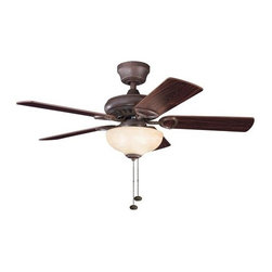 """Kichler - Kichler 337014TZ Sutter Place 42"""" Indoor Ceiling Fan 5 Blades - Light Kit an - Included Components:"""