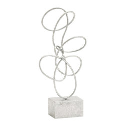 Unique and Exquisite Themed Metal Silver Abstract Sculpture - Description: