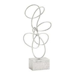 Unique and Exquisite Themed Metal Silver Abstract Sculpture - Description: