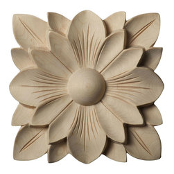 """Ekena Millwork - 5""""W x 5""""H x 3/4""""P Springtime Rosette, Maple - Our rosettes are the perfect accent pieces to cabinetry, furniture, fireplace mantels, ceilings, and more.  Each pattern is carefully crafted after traditional and historical designs.  Each piece is carefully carved and then sanded ready for your paint or stain.  They can install simply with traditional wood glues and finishing nails."""