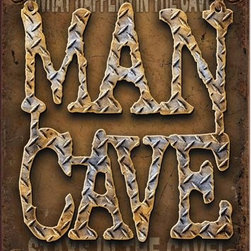 Desperate Enterprises - Man Cave Diamond Plate 16 x 12 Nostalgic Metal Sign - Check out this AWESOME nostalgic metal sign. It has fade-resistant, high resolution graphics and is made with pride in the USA using thick, heavy gauge tin. Pre-punched holes for easy wall mounting. It's perfect for your Man Cave, Game Room, Office, or anywhere you want to show love for your favorite things. Measures 16 x 12 1/2 inches.