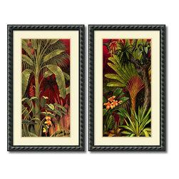 None - Rodolfo Jimenez 'Bali Garden- set of 2' Framed Art Print 21 x 35-inch Each - Artist: Rodolfo JimenezTitle: Bali Garden- set of 2Frame: Black rope design with inner rounded edge 1.5-inch woodOutside dimensions: 34.63 inches high x 21.13 inches wide