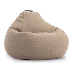 """Comfort Research/Big Joe - BIG JOE LUX 132"""" TEARDROP BEAN BAG CHAIR, Khaki Hitchcock - """"Give me your tall, your small, your people of all sizes yearning to be relaxed."""" This is the creed of the 132"""" Teardrop chair because it's a chair for the people - all the people. Size, shape and build are of no concern, so come and sit as you are. Take in all 132"""" of UltimaX  bean filling, Filled with UltimaX Beans that conform to you.  Double stitched and double zippers. Spot clean.  Available in Shag or Twill fabrics in assorted colors."""